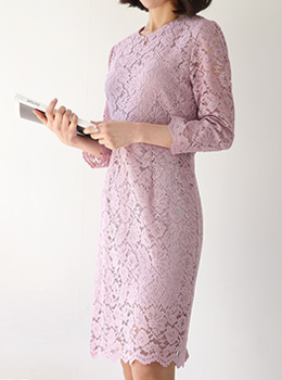 [8B-OP006]蕾丝后背下摆连衣裙