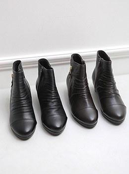 [YD-SH023]褶皱踝拉链靴