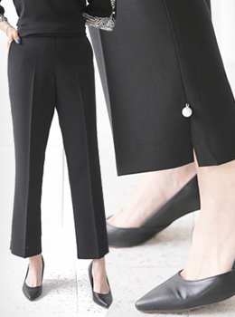 [9B-PT072]开衩珍珠半靴裤