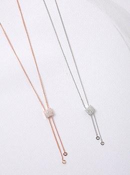[YY-AC091]水晶立方吊坠项链